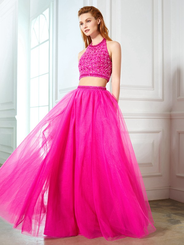 Nice A-Line Halter Cut Net Long Two Piece Dresses With Beading