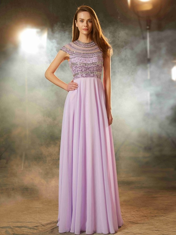 Smart A-Line Scoop Cut Chiffon Long Dresses With Beading