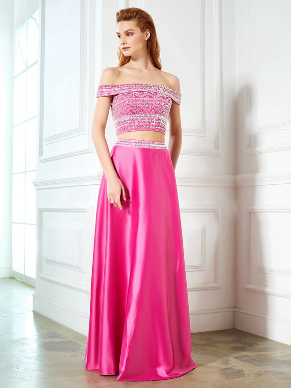 Charming A-Line Off-the-Shoulder Cut Satin Long Two Piece Dresses With Beading