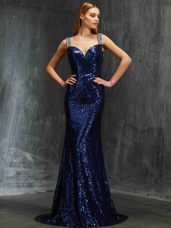 Shining Sheath V-neck Cut Sequins Long Dresses With Beading