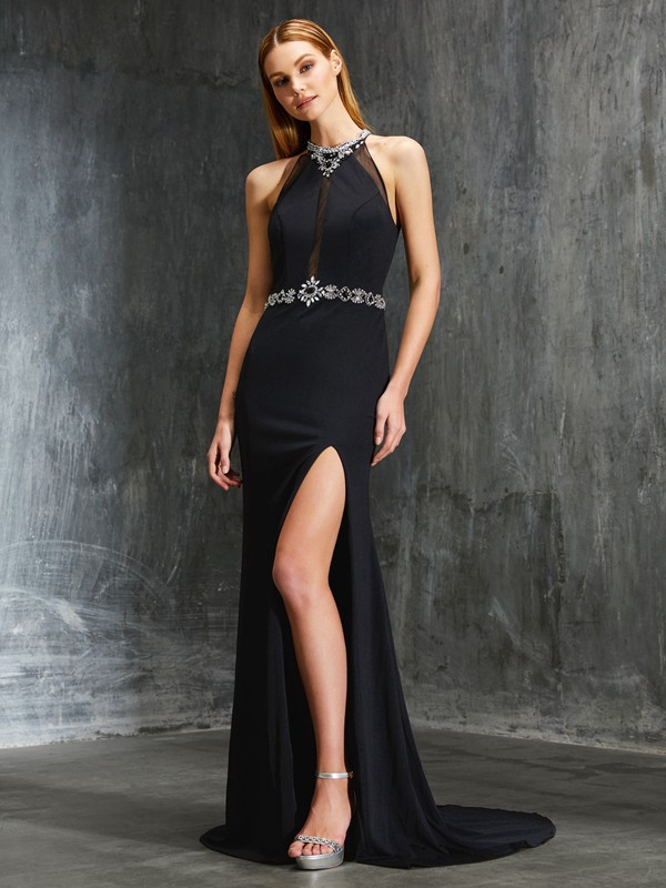 Elegant Sheath High Neck Cut Spandex Long Dresses With Beading