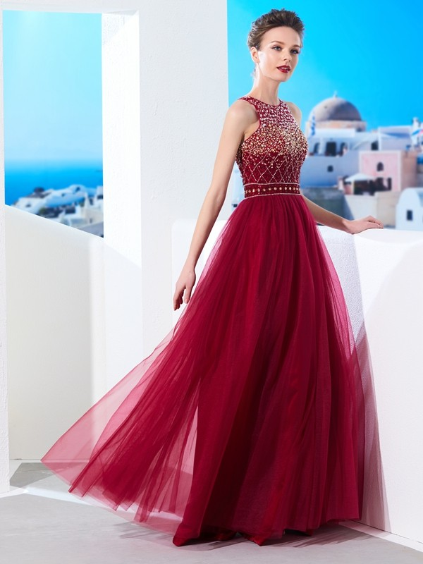 Lovely A-Line Scoop Cut Tulle Long Dresses With Beading