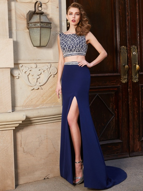Smart Sheath Bateau Cut Elastic Woven Satin Long Two Piece Dresses With Beading