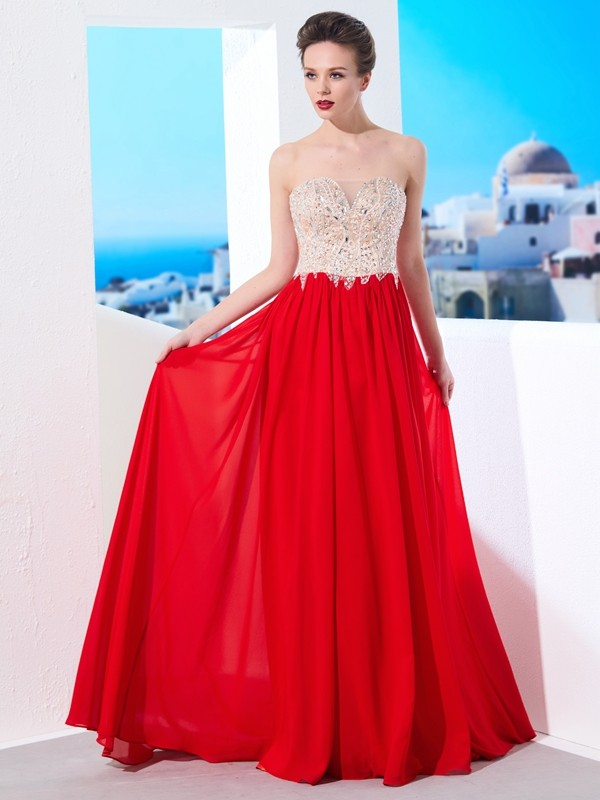 Shining A-Line Strapless Cut Chiffon Long Dresses With Beading