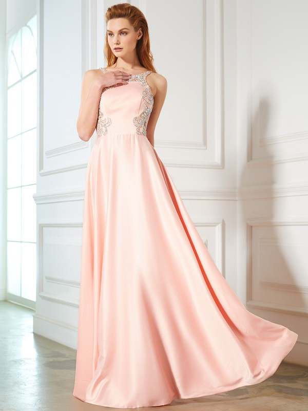 Exquisite A-Line Scoop Cut Satin Long Dresses With Beading