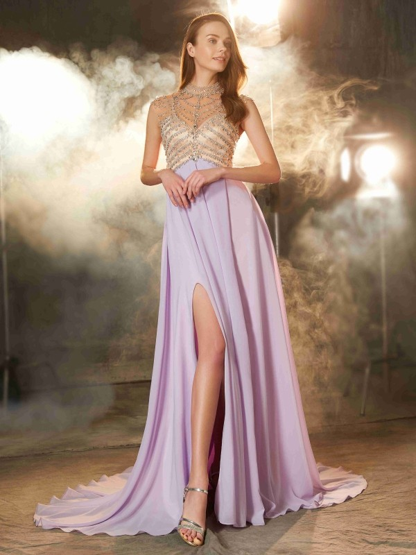 Sweet A-Line High Neck Cut Chiffon Long Dresses With Crystal