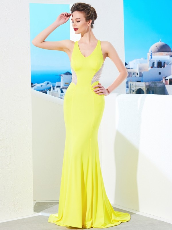 Attractive Mermaid V-neck Cut Spandex Long Dresses With Beading