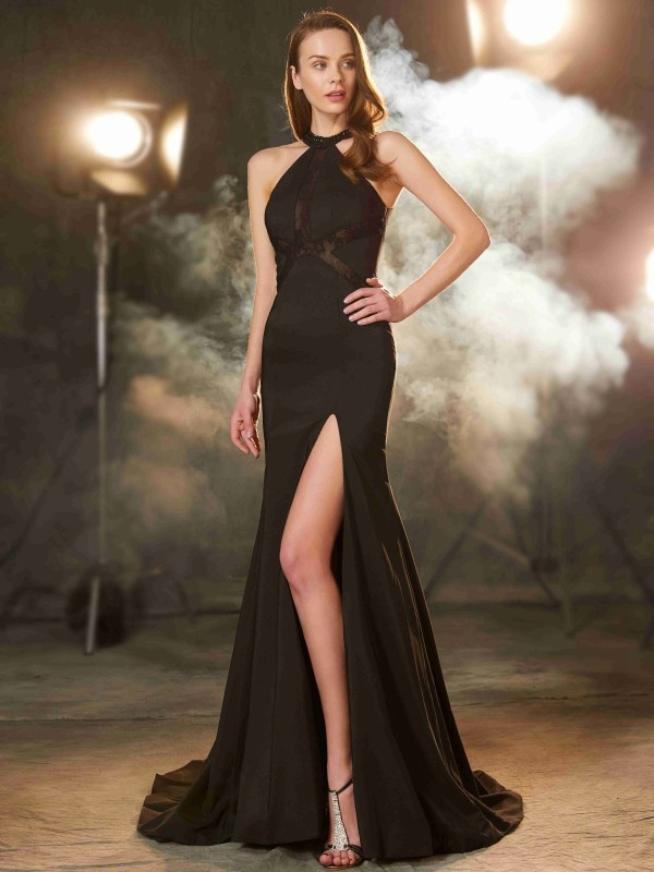Stylish Sheath Jewel Cut Elastic Woven Satin Long Dresses With Beading