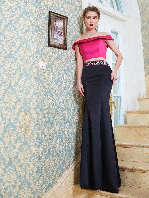 Gorgeous Mermaid Off-the-Shoulder Cut Satin Long Two Piece Dresses With Beading