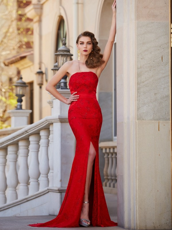 Chic Mermaid Strapless Cut Satin Long Dresses With Beading