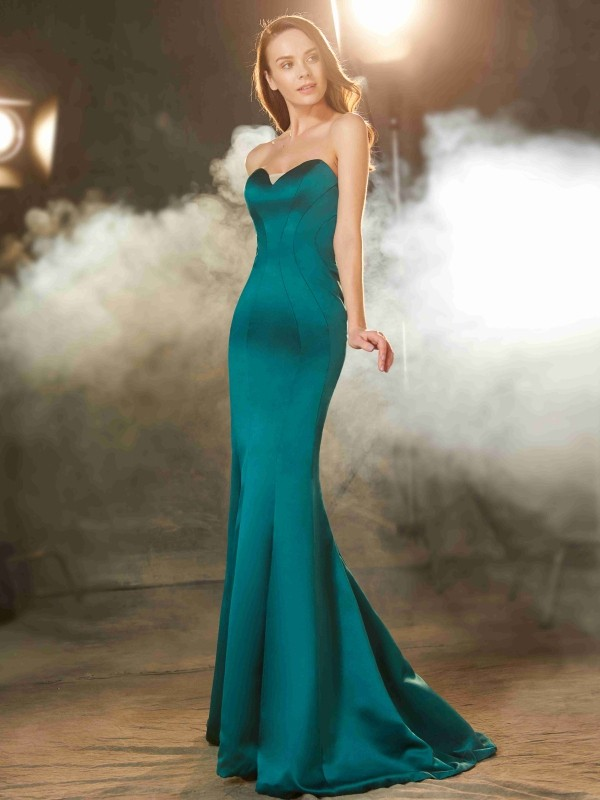 Hot Mermaid Sweetheart Cut Satin Long Dresses With Ruched