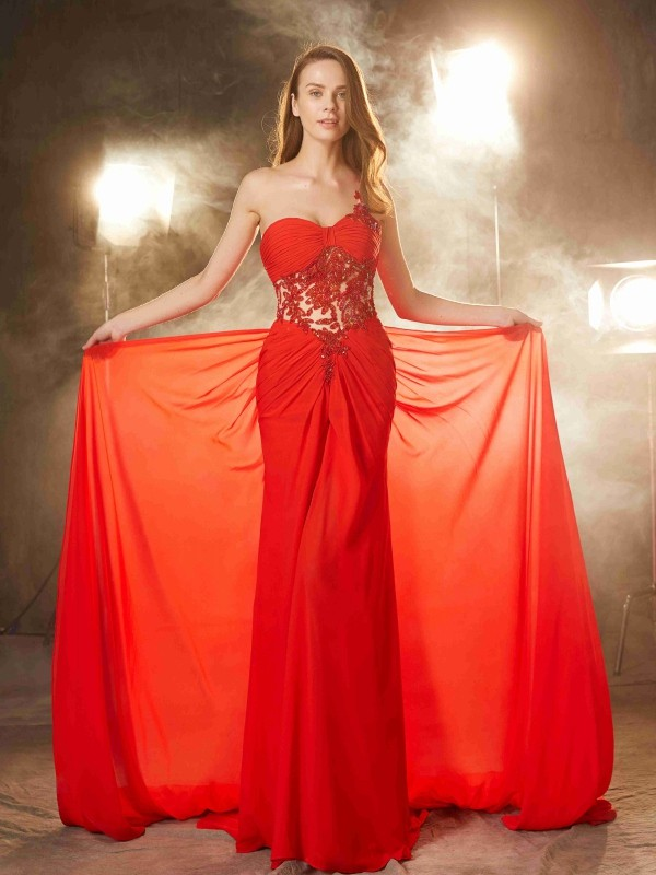 Glamorous Sheath One-Shoulder Cut Chiffon Long Dresses With Beading