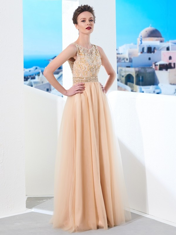 Special A-Line Scoop Cut Tulle Long Dresses With Beading