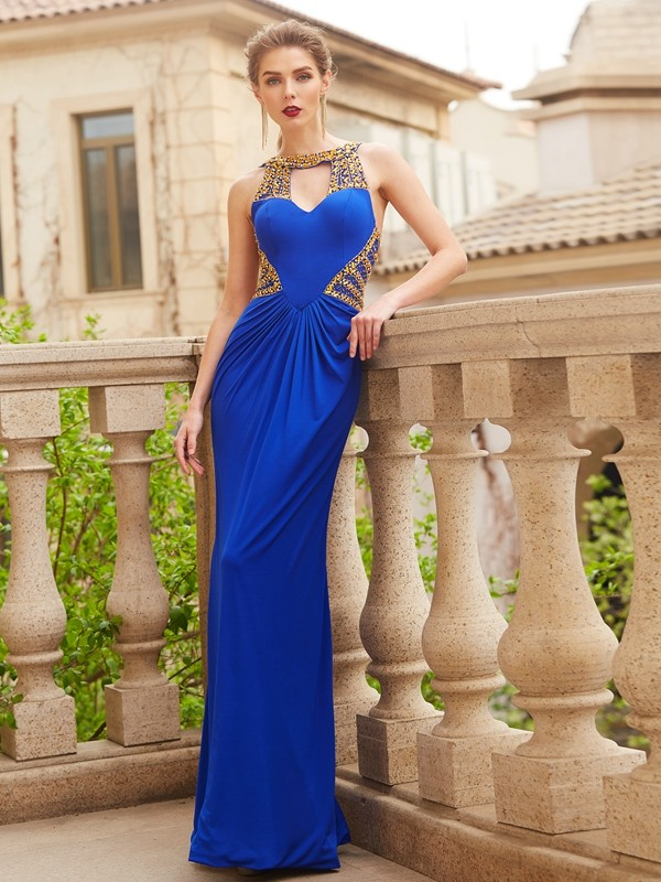 Charming Sheath Scoop Cut Spandex Long Dresses With Beading
