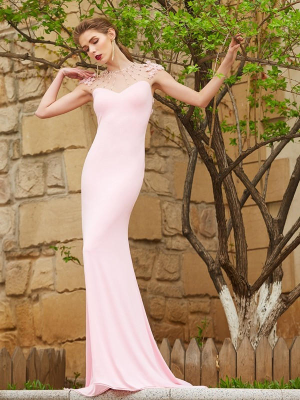 Elegant Mermaid Jewel Cut Spandex Long Dresses With Beading