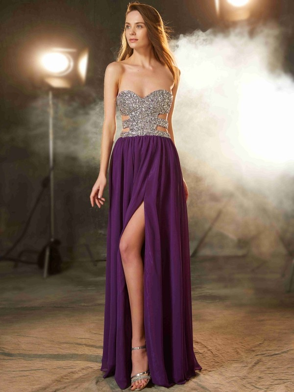 Trendy A-Line Sweetheart Cut Chiffon Long Dresses With Crystal