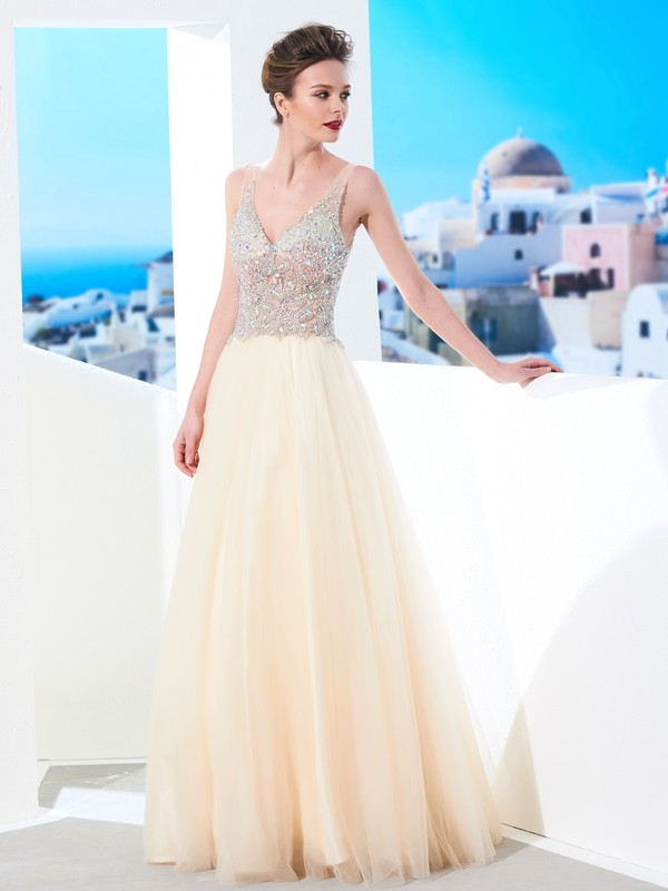 Dreamlike Ball Gown V-neck Cut Tulle Long Dresses With Beading