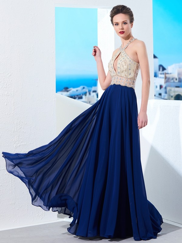 Brilliant A-Line Straps Cut Chiffon Long Dresses With Beading