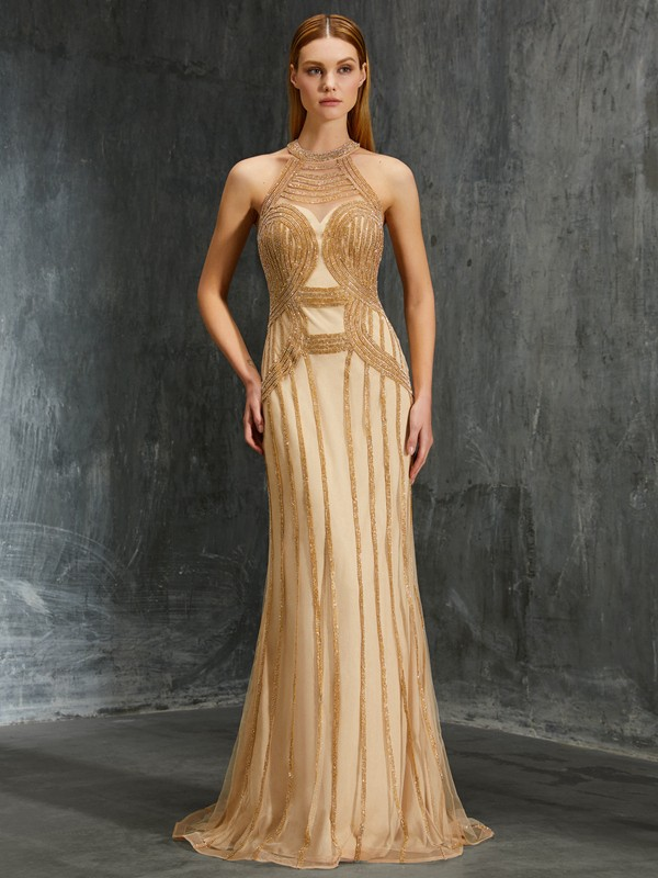 Romantic Sheath High Neck Cut Net Long Dresses With Beading