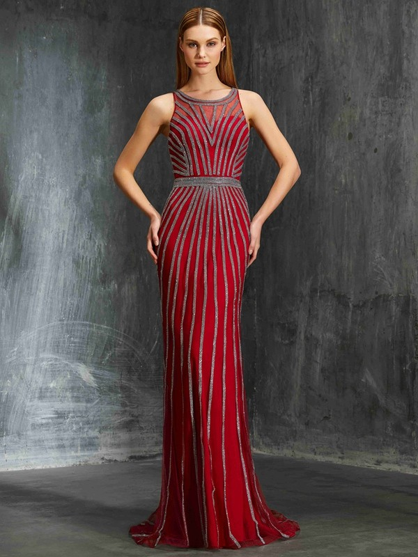 Dreamlike Sheath Scoop Cut Net Long Dresses With Beading