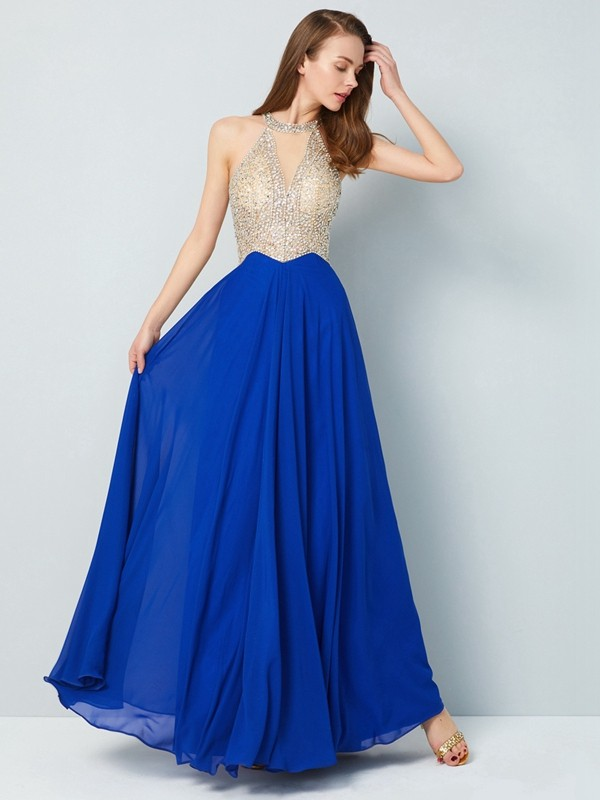 Pretty A-Line Scoop Cut Chiffon Long Dresses With Crystal