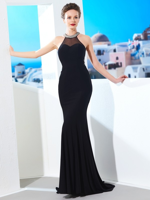 Soft Sheath Jewel Cut Spandex Long Dresses With Beading
