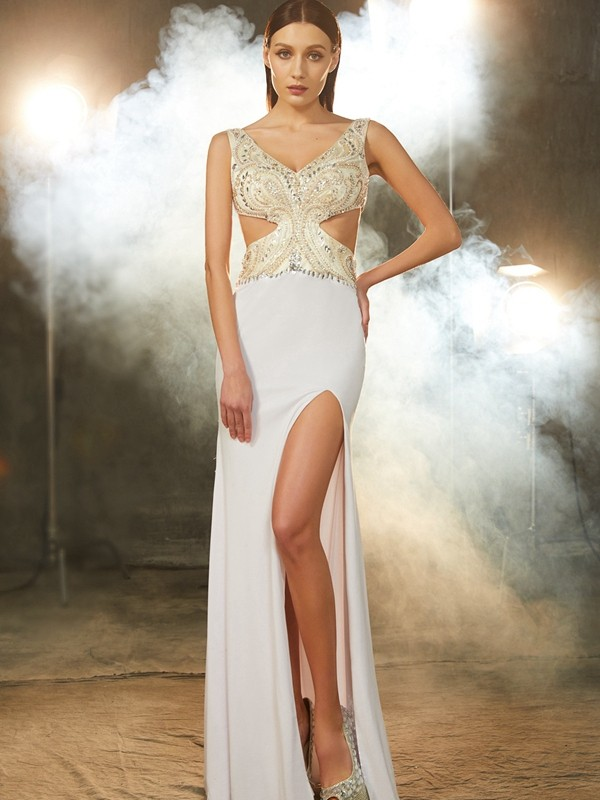 Gorgeous Sheath V-neck Cut Spandex Long Dresses With Beading