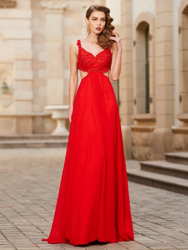 Elegant A-Line Straps Cut Chiffon Long Dresses With Applique