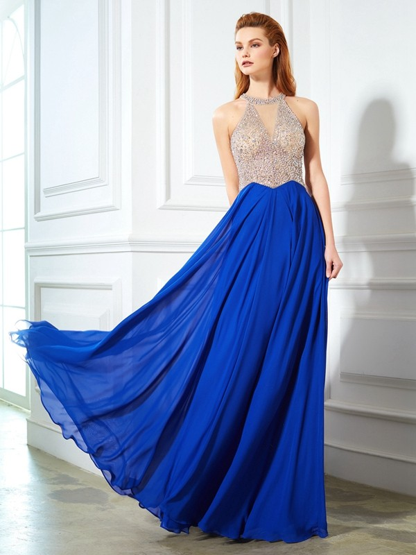 Amazing A-Line Scoop Cut Chiffon Long Dresses With Crystal