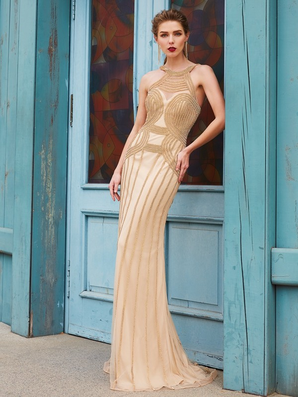 Graceful Sheath High Neck Cut Net Long Dresses With Beading