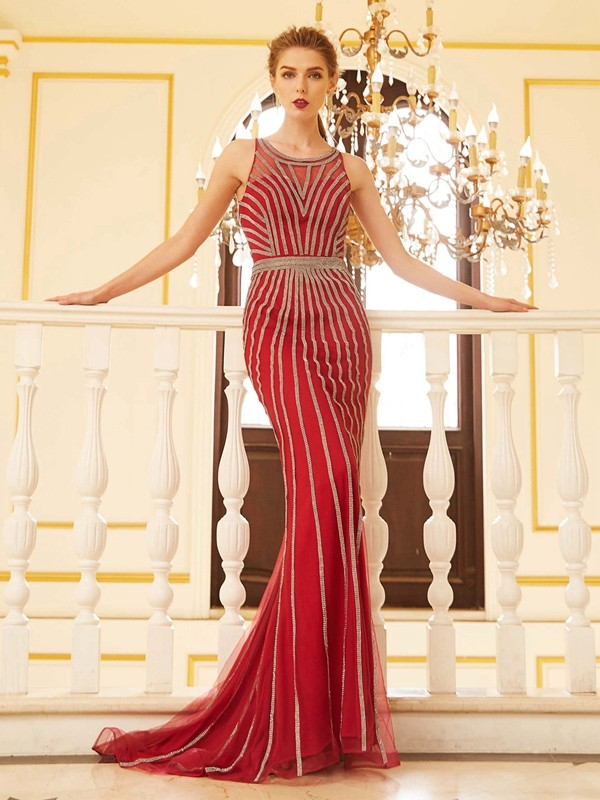 Stunning Sheath Scoop Cut Net Long Dresses With Beading