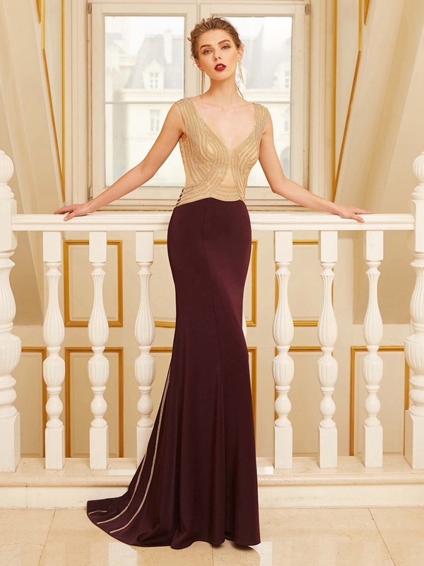 Fashional Sheath Straps Cut Jersey Long Dresses With Beading