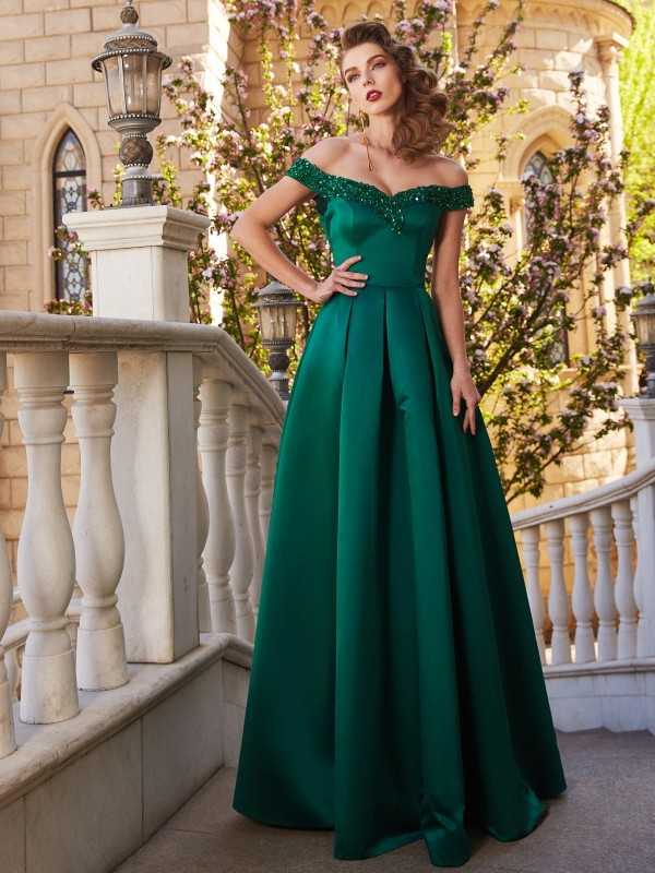 Shining A-Line Off-the-Shoulder Cut Satin Long Dresses With Sequin