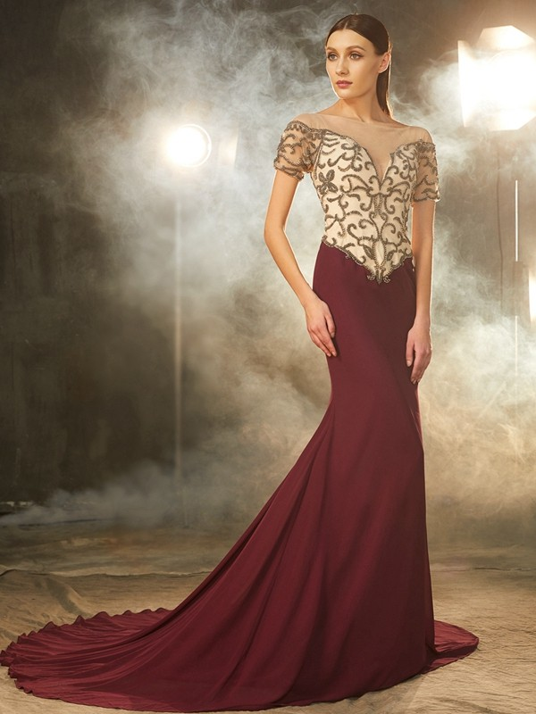 Attractive Sheath Sheer Neck Cut Chiffon Long Dresses With Beading