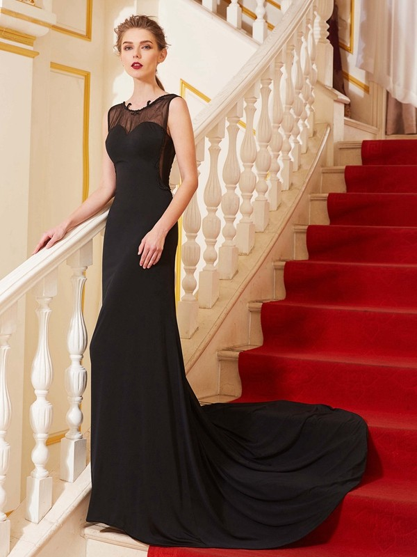 Lovely A-Line Scoop Cut Spandex Long Dresses With Beading