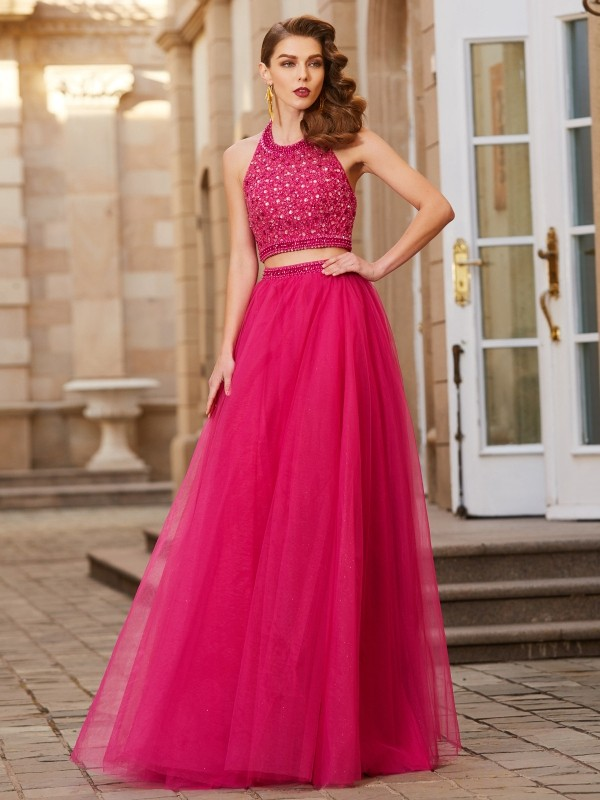 Bright A-Line Halter Cut Tulle Long Two Piece Dresses With Beading