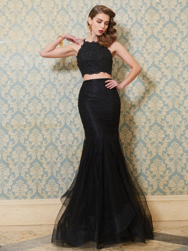 Dreamlike Mermaid Spaghetti Straps Cut Tulle Long Two Piece Dresses With Applique