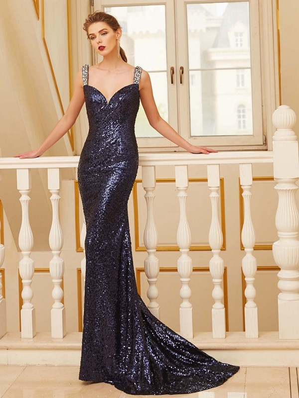 Attractive Sheath V-neck Cut Sequins Long Dresses With Beading