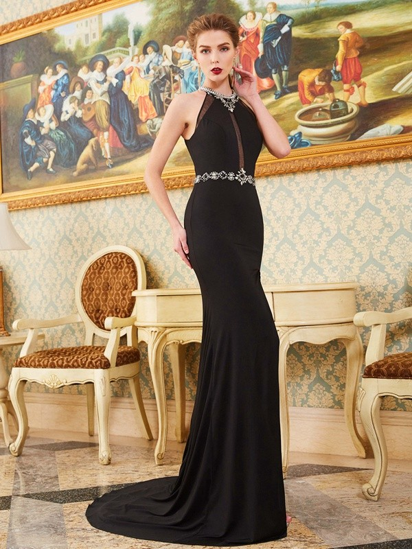 Delicate Sheath High Neck Cut Spandex Long Dresses With Beading