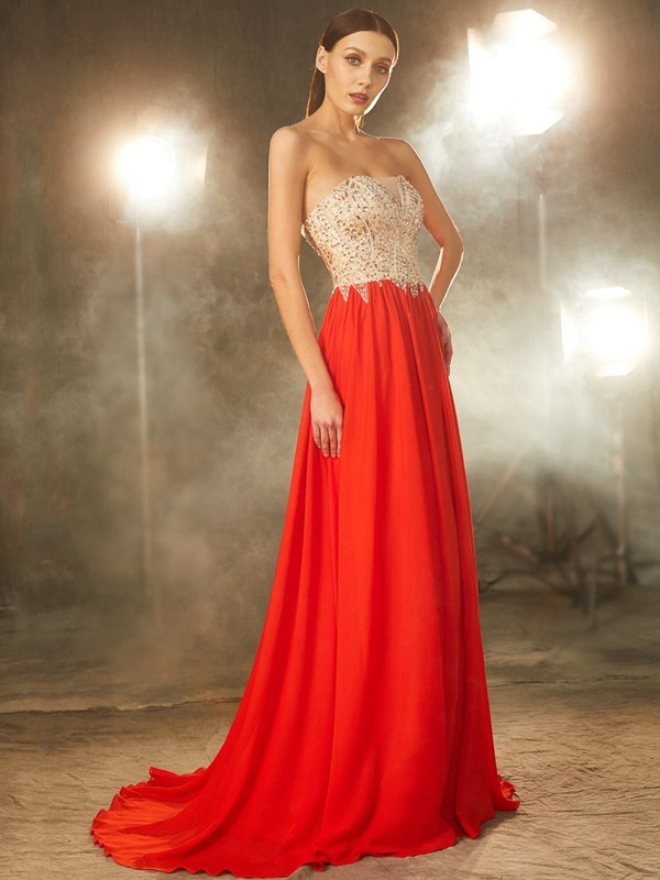 Chic A-Line Strapless Cut Chiffon Long Dresses With Beading
