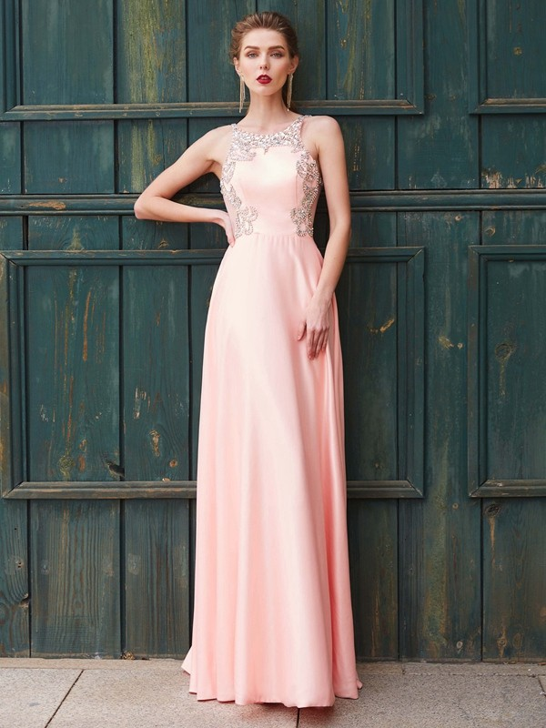 Bright A-Line Scoop Cut Satin Long Dresses With Beading