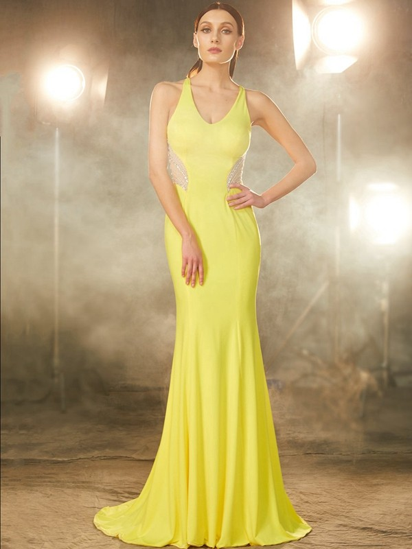 Sweet Mermaid V-neck Cut Spandex Long Dresses With Beading