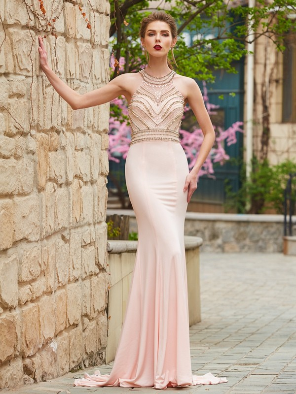 Modern Sheath Scoop Cut Spandex Long Dresses With Beading