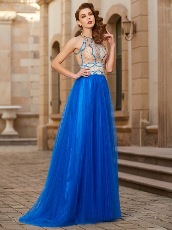 Popular A-Line Jewel Cut Tulle Long Dresses With Beading