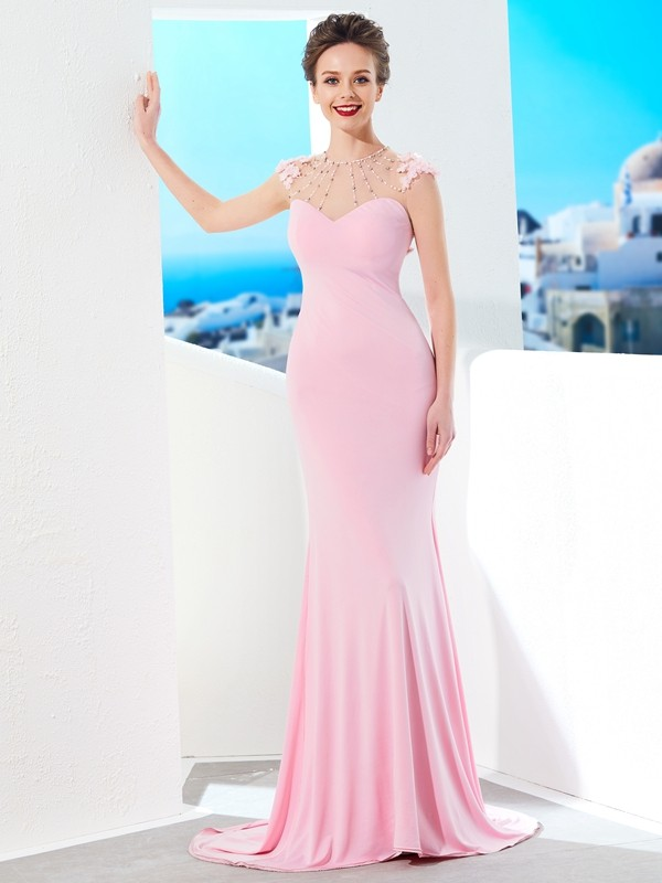 Glamorous Mermaid Jewel Cut Spandex Long Dresses With Beading