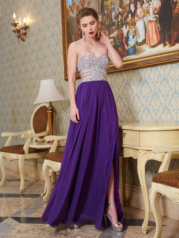 Soft A-Line Sweetheart Cut Chiffon Long Dresses With Crystal
