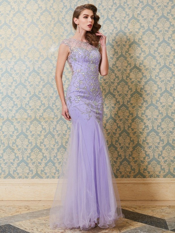 Charming Mermaid Scoop Cut Tulle Long Dresses With Beading