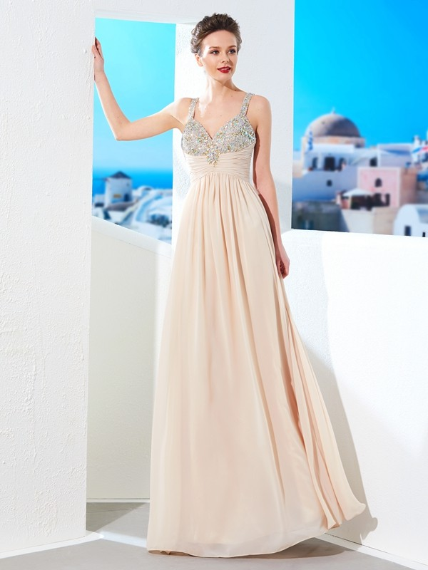 Popular A-Line Spaghetti Straps Cut Chiffon Long Dresses With Beading