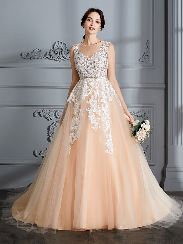 Stylish Ball Gown Scoop Cut Tulle Long Wedding Dresses With Ruffles