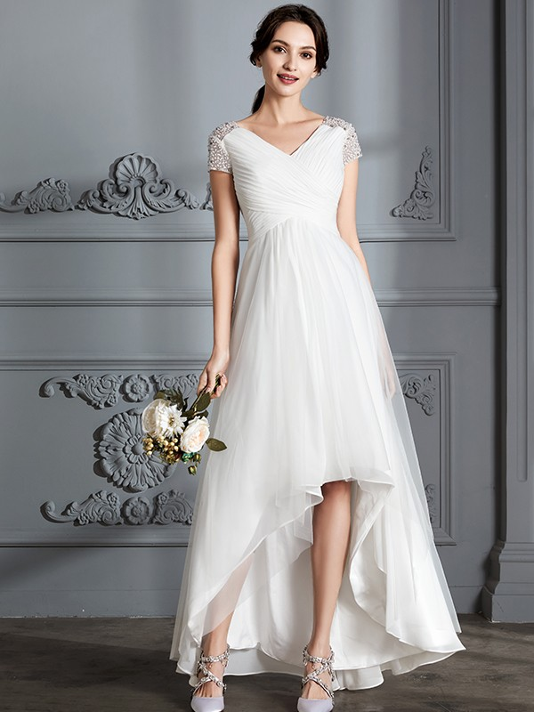 Hot A-Line V-neck Cut Tulle High Low Wedding Dresses With Ruffles